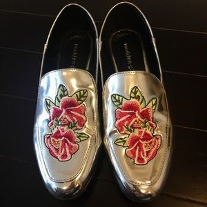 Silver patent loafer